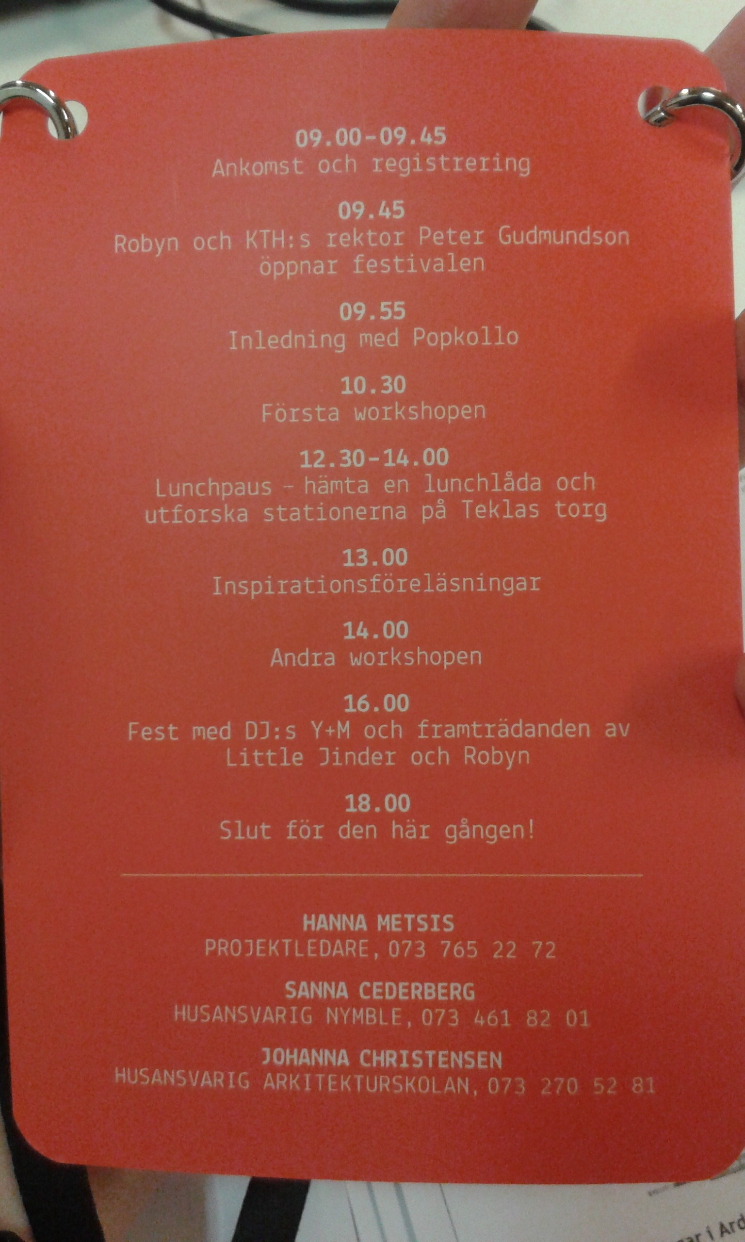 Dagens program.